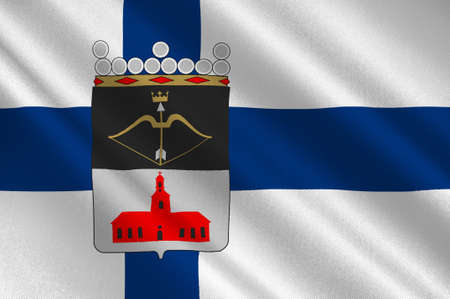 Flag Of Kuopio is a city and a municipality in the region of Northern Savonia, Finland. 3d illustration