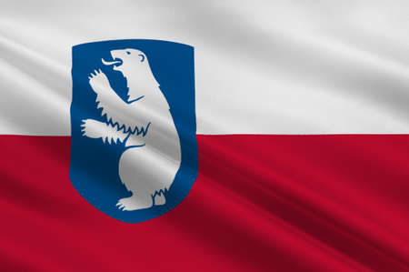 nuuk: Flag of Greenland is an island country of Denmark Kingdom. 3d illustration