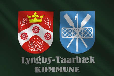 commune: Flag of Lyngby-Taarbek is a municipality in Region Hovedstaden of Denmark. 3d illustration Stock Photo