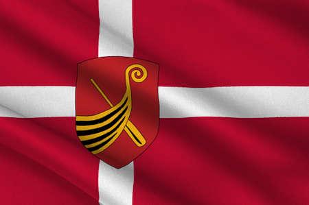 commune: Flag of Kerteminde in Southern Denmark Region. 3d illustration