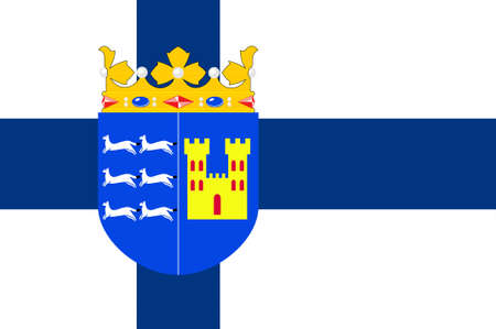suomi: Flag Of Province of Oulu is a province of Finland. 3d illustration Stock Photo