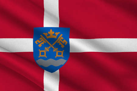aching: Flag of Nestved is a municipality in Denmark in Zealand Region. 3d illustration Stock Photo