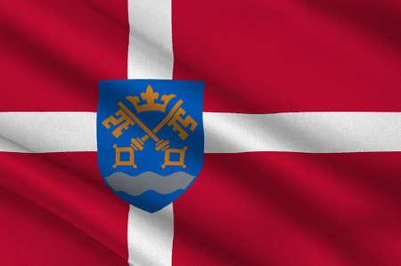 commune: Flag of Nestved is a municipality in Denmark in Zealand Region. 3d illustration Stock Photo