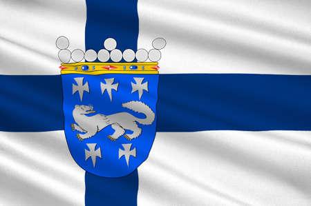 suomi: Flag Of Central Ostrobothnia region in Finland. 3d illustration