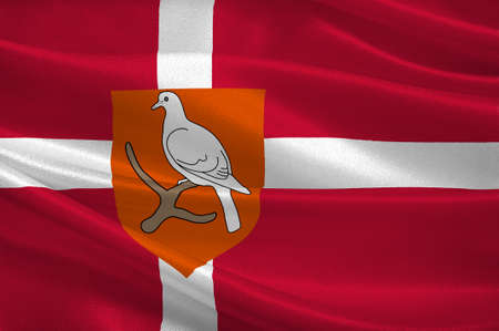 Flag of Morso is a municipality in Region Nordjylland in Denmark. 3d illustration Stock Photo