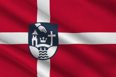 danish flag: Flag of Koge is a municipality in Denmark in Zealand Region. 3d illustration