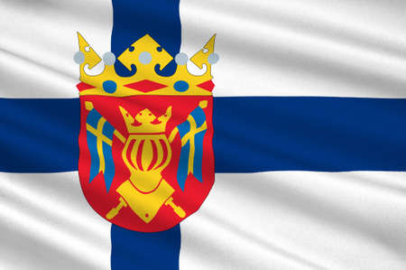 scandinavia: Flag Of Southwest Finland, also known in English as Finland Proper region in Finland. 3d illustration