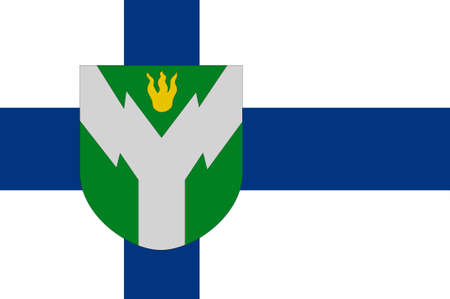 lapland: Flag Of Rovaniemi is a city and municipality in Province of Lapland is a province of Finland. 3d illustration Stock Photo