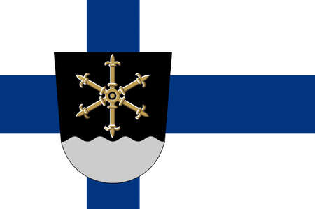 Flag Of Kouvola is a town and municipality in Kymenlaakso region in Finland. 3d illustration Imagens