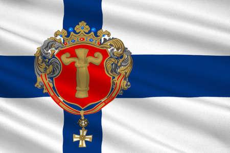 Flag Of Vaasa is a city in Ostrobothnia region in Finland. 3d illustration Imagens