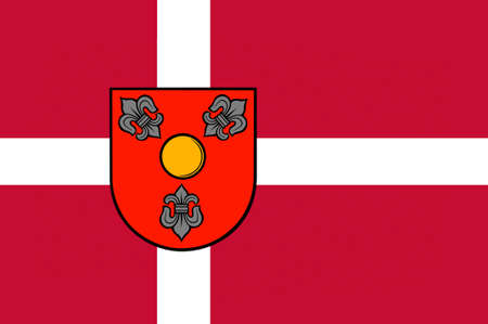 commune: Flag of Glostrup is a suburban municipality and town in Region Hovedstaden in Denmark. 3d illustration