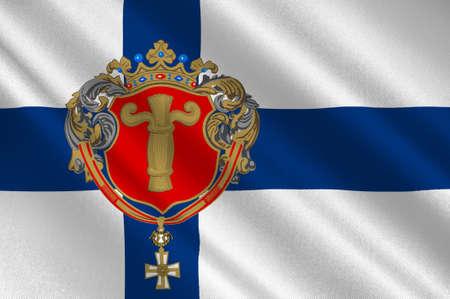suomi: Flag Of Vaasa is a city in Ostrobothnia region in Finland. 3d illustration Stock Photo