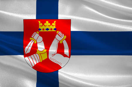 suomi: Flag Of North Karelia is a region in eastern Finland. 3d illustration Stock Photo