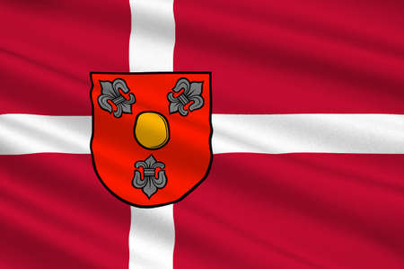 danish flag: Flag of Glostrup is a suburban municipality and town in Region Hovedstaden in Denmark. 3d illustration