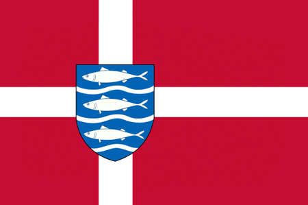 southern: Flag of Aabenraa in Southern Denmark Region. 3d illustration