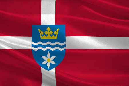 municipality: Flag of Halsnes is a municipality in Region Hovedstaden of Denmark. 3d illustration