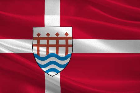 commune: Flag of Haderslev in Southern Denmark Region. 3d illustration