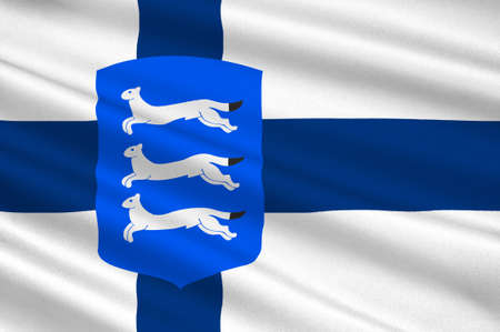 Flag Of Southern Ostrobothnia is a region in the south-east of Finland. 3d illustration