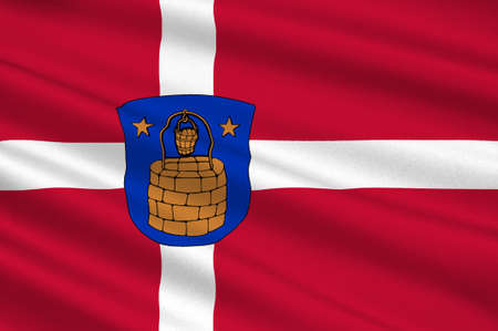 commune: Flag of Brondby is a municipality in the former Copenhagen County in eastern Denmark. 3d illustration