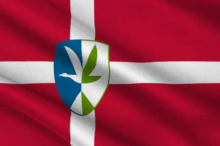 commune: Flag of Vordingborg is a municipality in Denmark in Zealand Region. 3d illustration Stock Photo