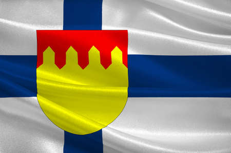 suomi: Flag Of Pirkanmaa also known as Tampere Region region in Finland. 3d illustration