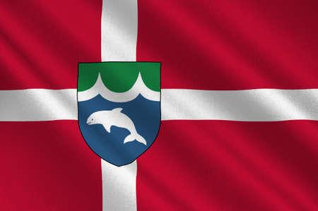 commune: Flag of Middelfart in Southern Denmark Region. 3d illustration
