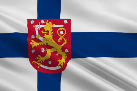 scandinavia: Flag of Finland is a sovereign state in Europe. 3d illustration