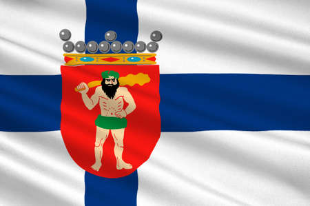 lapland: Flag Of Lapland is the largest and northernmost region of Finland. 3d illustration