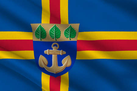 suomi: Flag Of Mariehamn is the capital of Aland Islands is a autonomous territory of Finland. 3d illustration