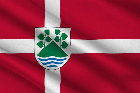 southern: Flag of Aeroskobing in Southern Denmark Region. 3d illustration