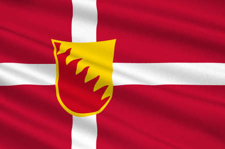 danish flag: Flag of Solrod is a municipality in Denmark in Zealand Region. 3d illustration Stock Photo