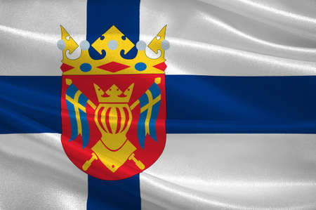 Flag Of Southwest Finland, also known in English as Finland Proper region in Finland. 3d illustration