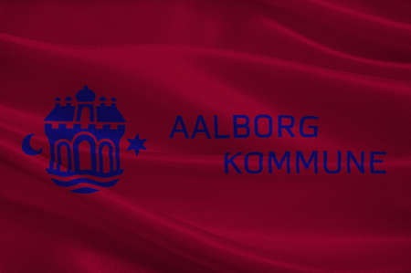 danish flag: Flag of Aalborg is a municipality in Region Nordjylland on the Jutland peninsula in northern Denmark. 3d illustration Stock Photo
