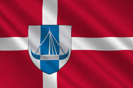 danish flag: Flag of Frederikssund is a municipality in Region Hovedstaden of Denmark. 3d illustration Stock Photo