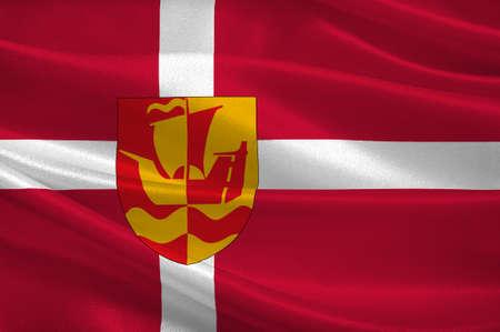 commune: Flag of Guldborgsund is a municipality in Zealand Region of Denmark. 3d illustration
