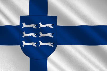 Flag Of Northern Ostrobothnia is a region of Finland. 3d illustration