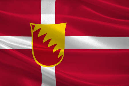 commune: Flag of Solrod is a municipality in Denmark in Zealand Region. 3d illustration Stock Photo