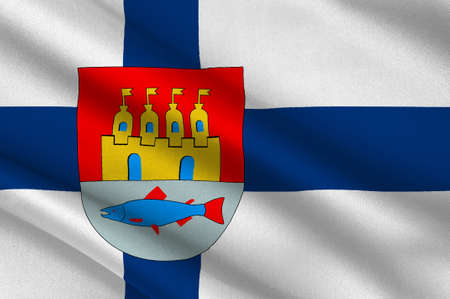 Flag Of Oulu is a city and municipality in the region of Northern Ostrobothnia, Finland. 3d illustration Imagens