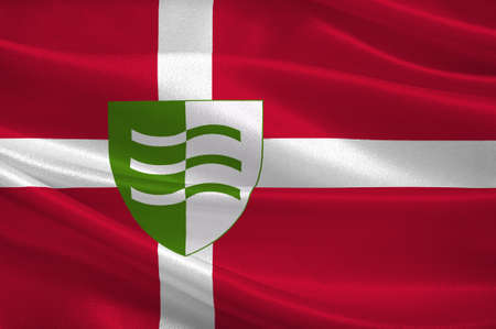 commune: Flag of Lejre is a municipality in Denmark in Zealand Region. 3d illustration