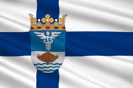 suomi: Flag Of Jyvaskyla is a city and municipality in Central Finland region in Finland. 3d illustration