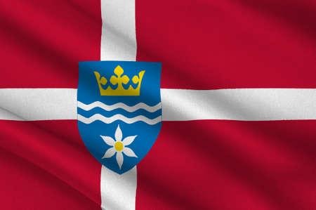 commune: Flag of Halsnes is a municipality in Region Hovedstaden of Denmark. 3d illustration