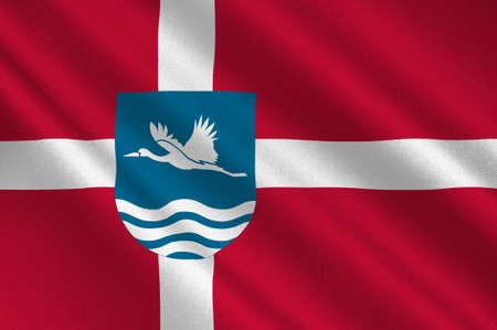 commune: Flag of Vesthimmerland is a municipality in Region Nordjylland in Denmark. 3d illustration