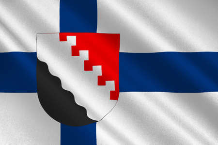 suomi: Flag Of Joensuu is a city and municipality in North Karelia in the province of Eastern Finland. 3d illustration