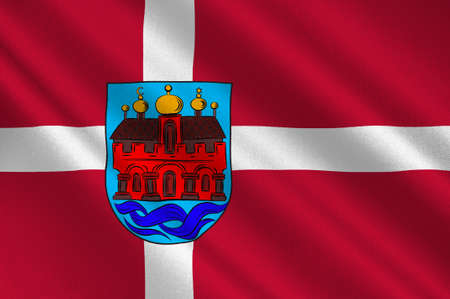 peninsula: Flag of Aalborg is a municipality in Region Nordjylland on the Jutland peninsula in northern Denmark. 3d illustration Stock Photo