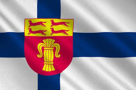Flag Of Ostrobothnia region in Finland. 3d illustration