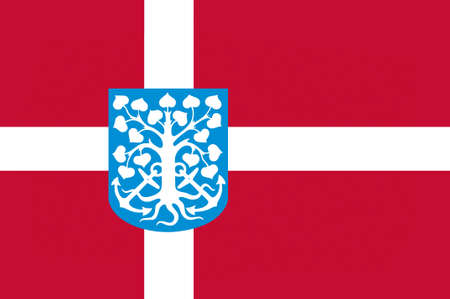 municipality: Flag of Esbjerg in Southern Denmark Region. 3d illustration