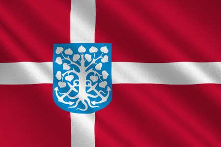 commune: Flag of Esbjerg in Southern Denmark Region. 3d illustration