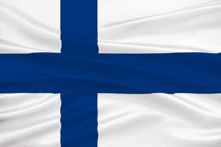 Flag of Finland is a sovereign state in Europe. 3d illustration