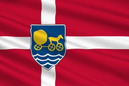 commune: Flag of Odsherred is a municipality in Denmark in Zealand Region. 3d illustration