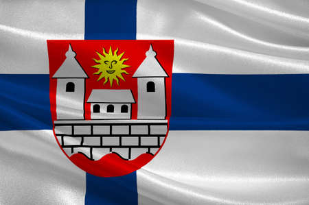 suomi: Flag of Hameenlinna in Southern Finland is a province of Finland. 3d illustration